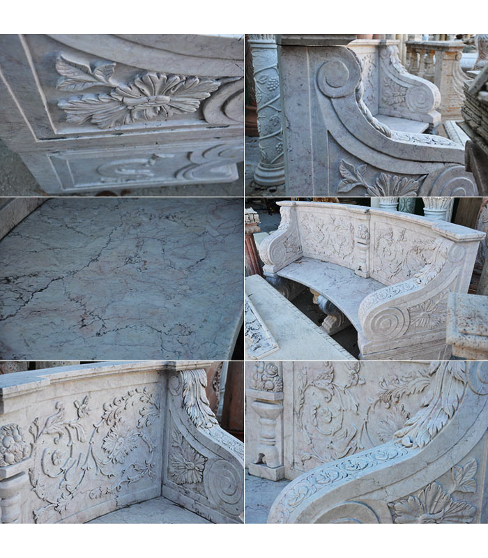 Ornate Curved Marble Bench