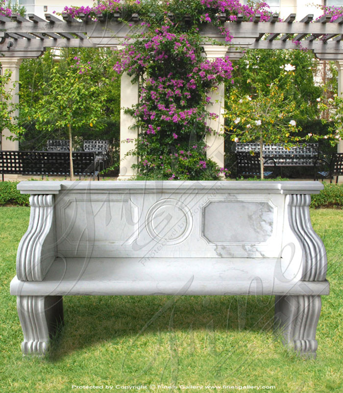 Marble Benches  - Flower Wreaths Marble Bench - MBE-641