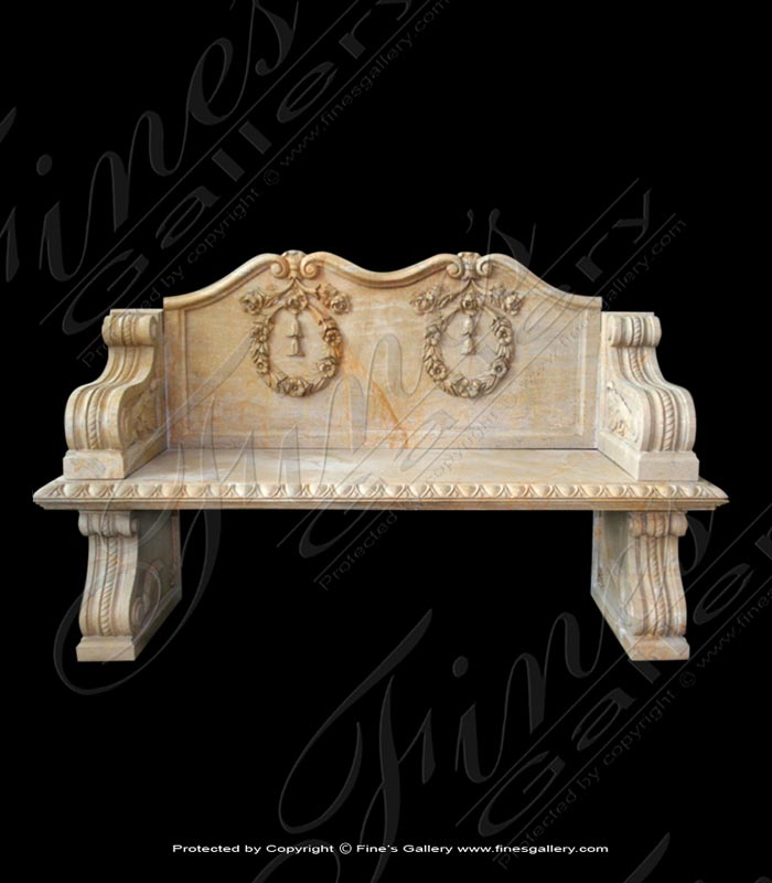 Marble Benches  - Elegant Marble Garden Bench - MBE-639