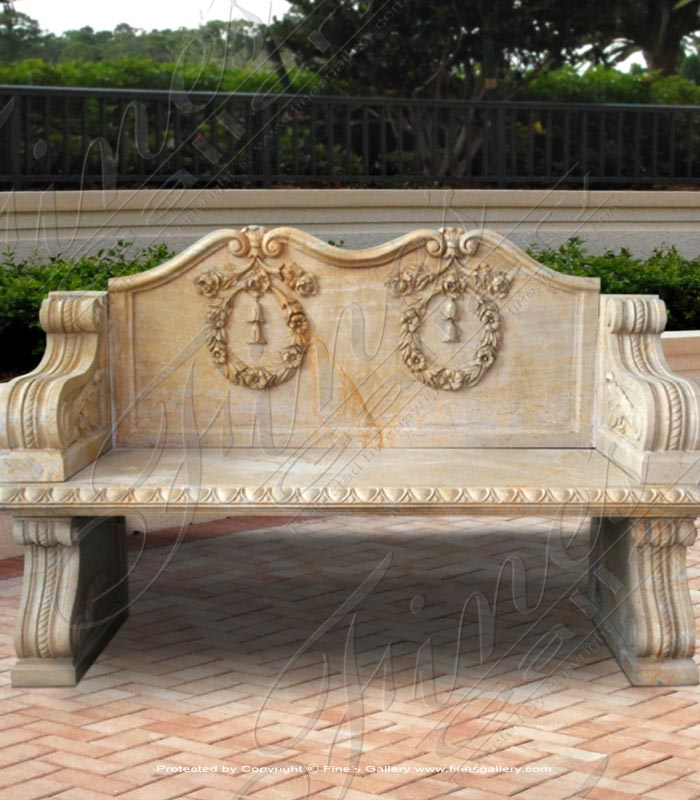 Flower Wreaths Marble Bench