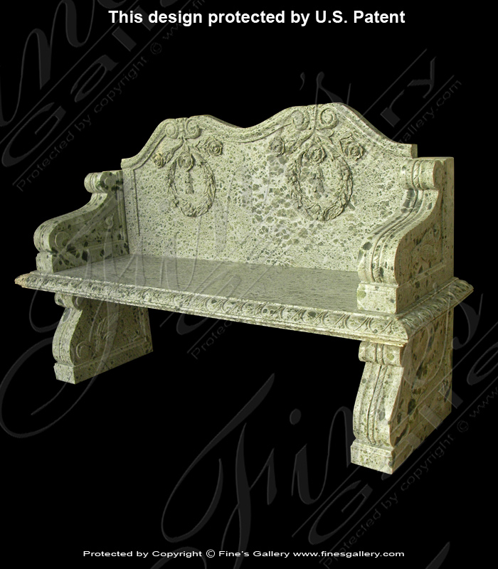 Ornate Scrollwork Marble Bench