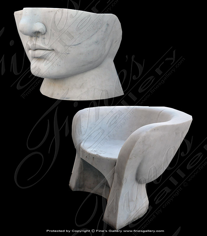 Marble Benches  - Art Deco Face Bench - MBE-667
