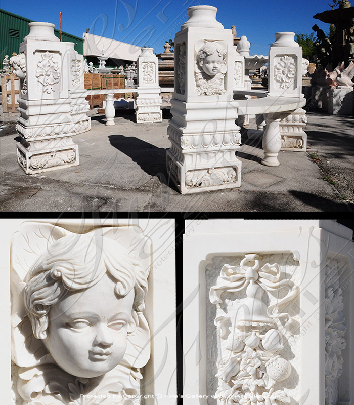 Marble Benches  - Ornate White Marble Bench - MBE-700
