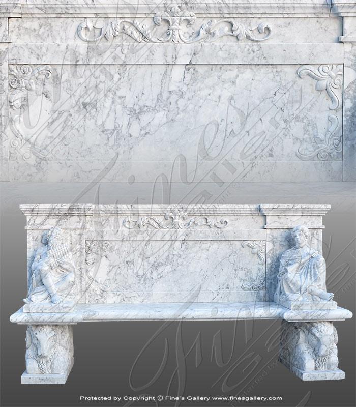 Italian Carrara Marble Bench