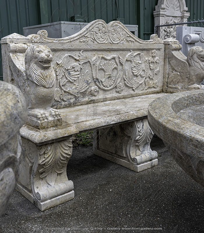 Marble Benches  - Rustic Antique Style Travertine Bench - MBE-704
