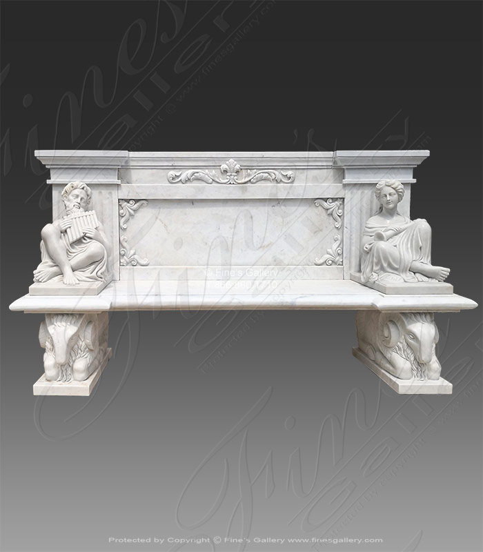 Marble Benches  - Kings White Marble Bench - MBE-709