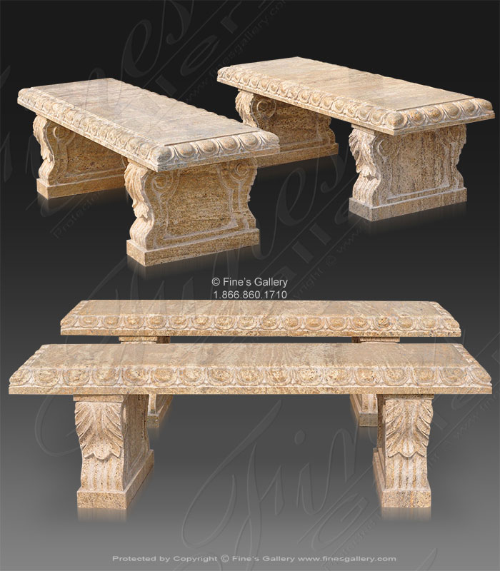 Marble Benches  - Pair Of 60 Inch Granite Benches - MBE-711