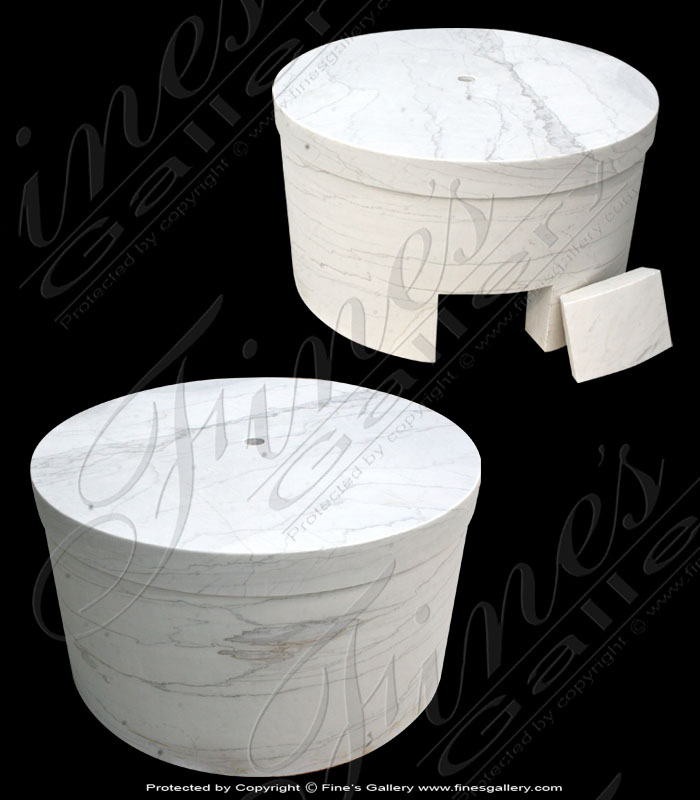 Marble Accessories  - Large White Circular Marble Base - MBS-049