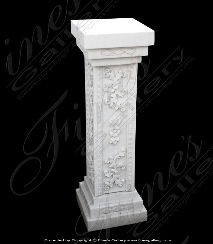 White Square Floral Marble Bas