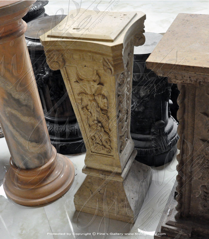 Tan color ornate marble base