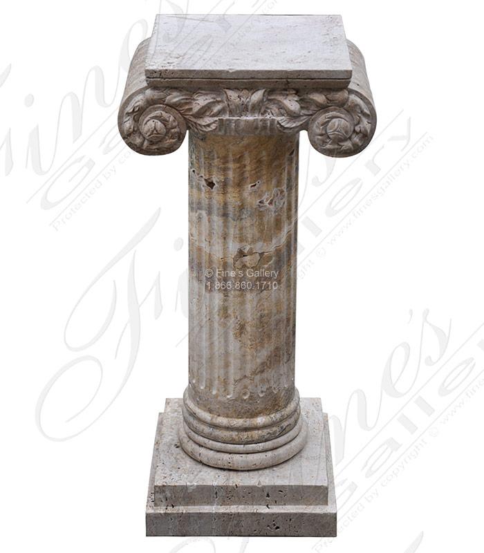 Ionic Column Travertine Pedestal