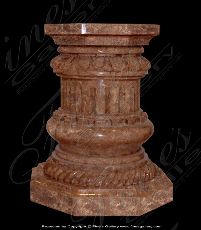 Marble Bases  - Ornate Brown Marble Base - MBS-142