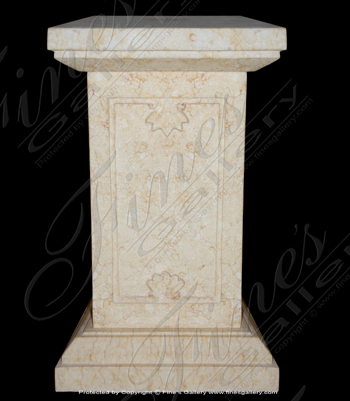 Marble Bases  - Shell Decor White Marble Base - MBS-151