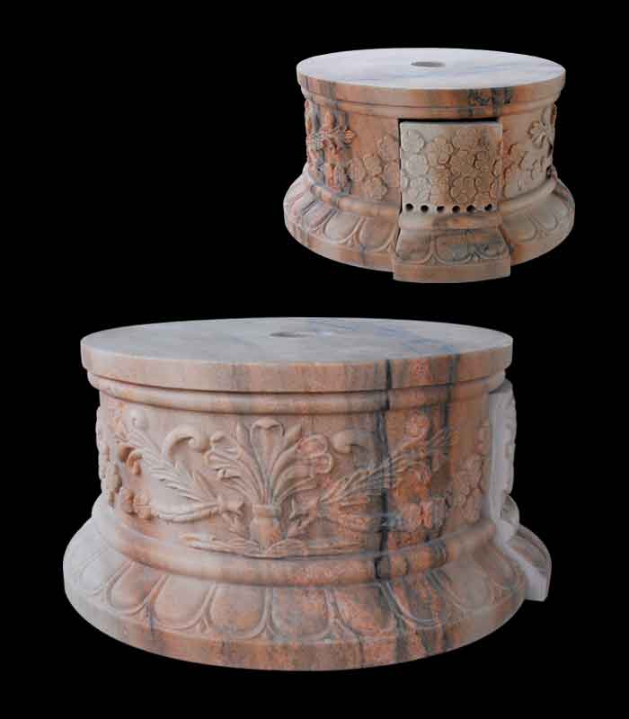 Marble Bases  - Rosetta Floral Marble Base - MBS-158