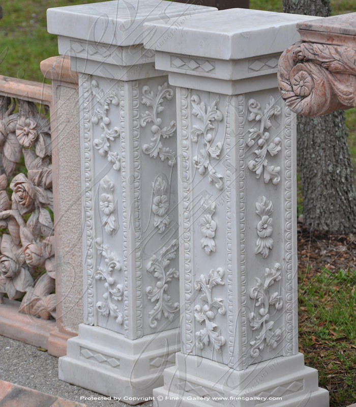 Marble Bases  - Ornate White Marble Base - MBS-173