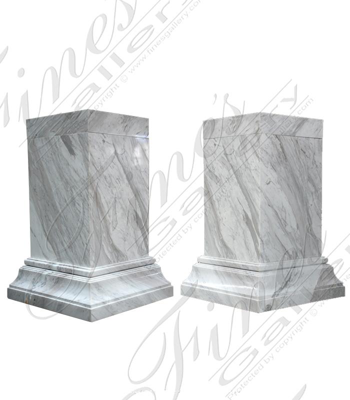 Polished Volokas Marble Base Pair