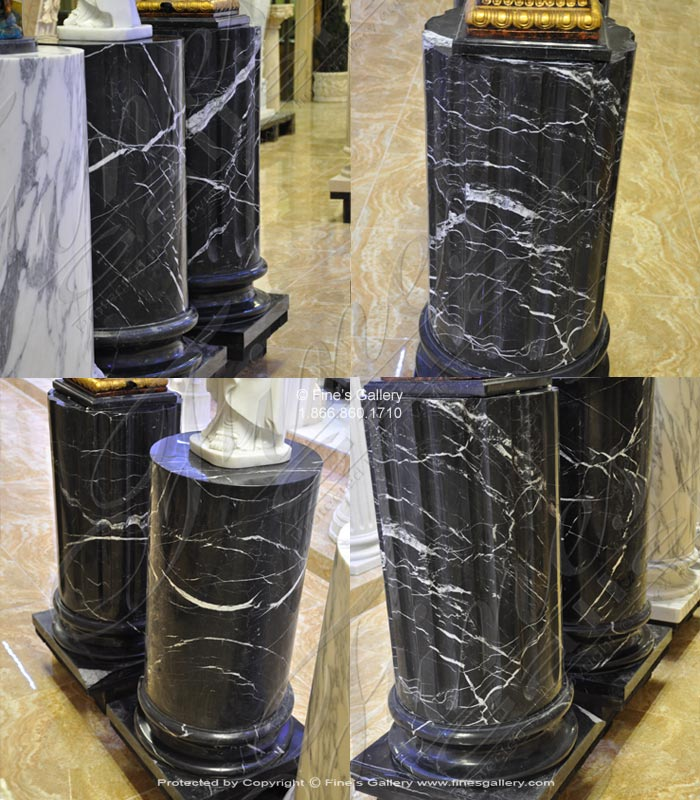 Marble Bases  - Nero Marquina Black Marble Pedestal - MBS-228