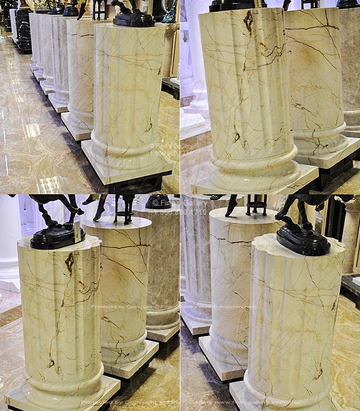 Sofitel Gold Marble Column Base Smooth and Fluted