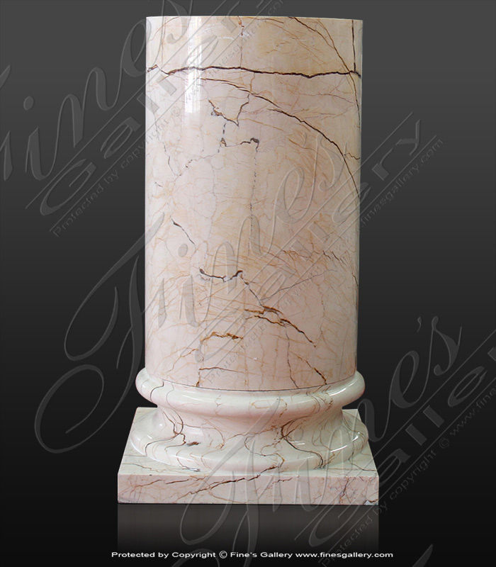 Marble Bases  - Sofitel Gold Marble Column Base Smooth And Fluted - MBS-230