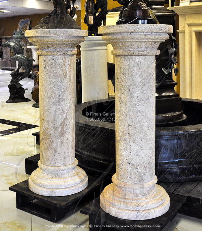 Marble Bases  - Classical Travertine Pedestal - MBS-253