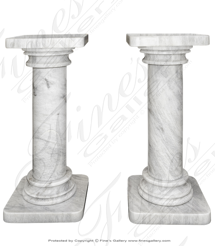 Marble Bases  - Classic White Marble Pedestal - MBS-261