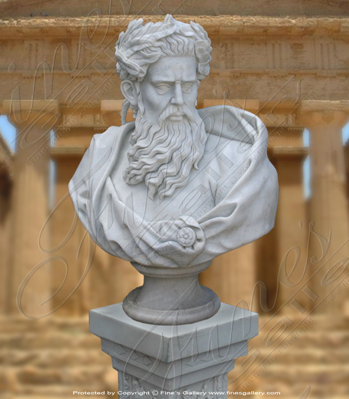 Marble Statues  - White Marble Zeus Bust - MBT-365