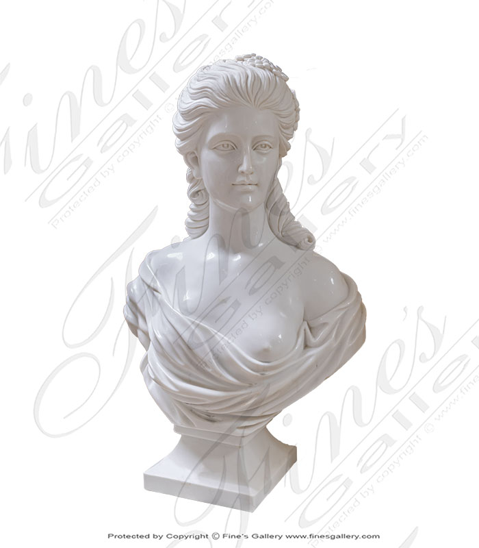 Marble Statues  - Pure White Marble French Noblewoman Bust - MBT-457