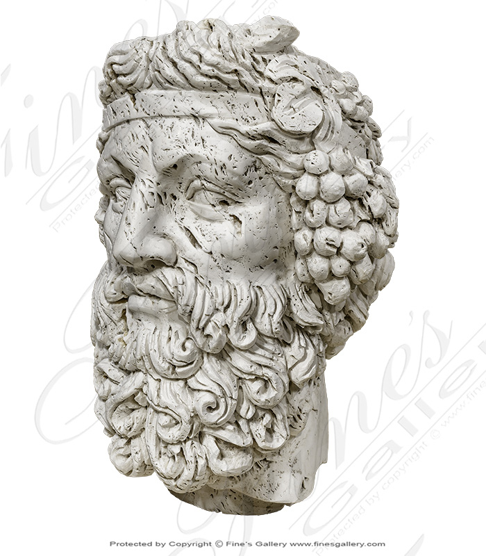 Marble Statues  - Italian Travertine Dionysus Wine God Bust - MBT-461