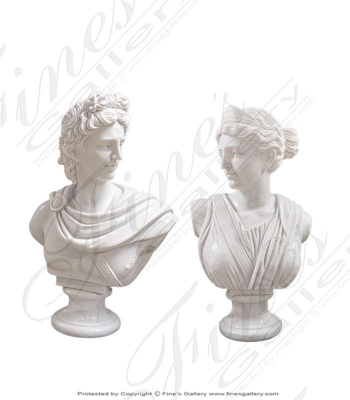 Apollo and Dianna Marble Bust PAIR