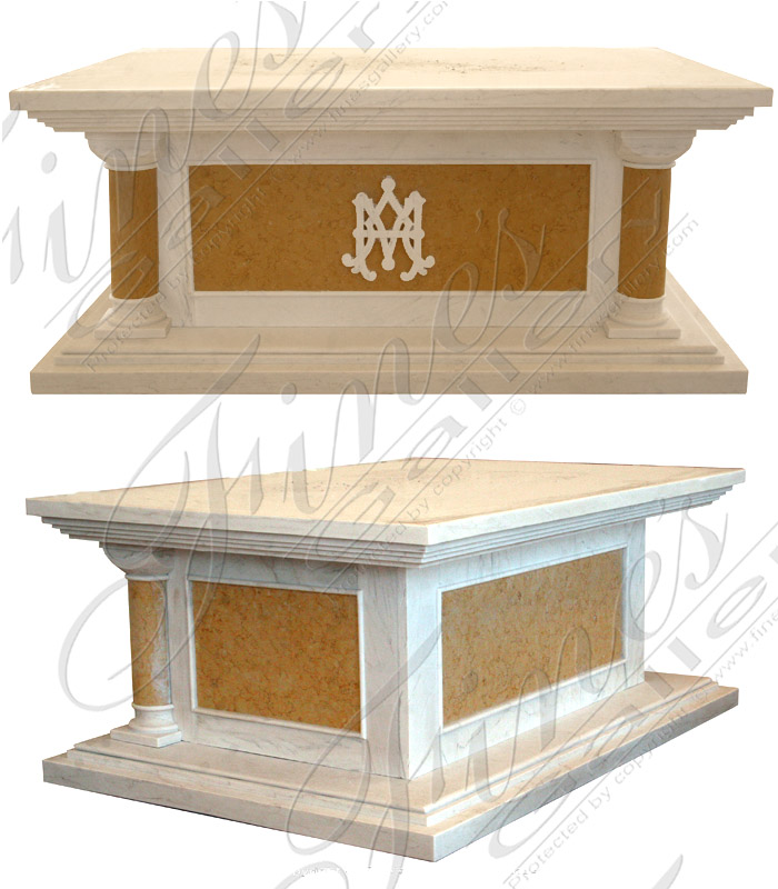 Cream and Yellow Marble Church Altar