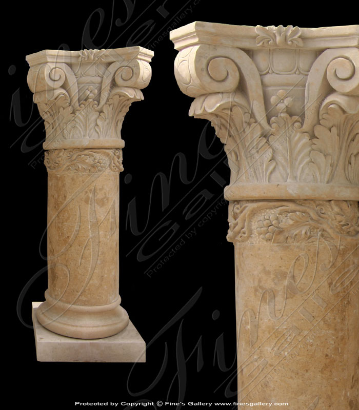 Marble Columns  - Light Brown Marble Columns - MCOL-183