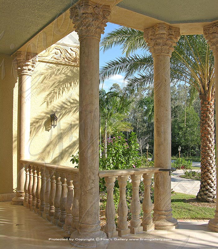 Old World Travertine Columns and Balusters