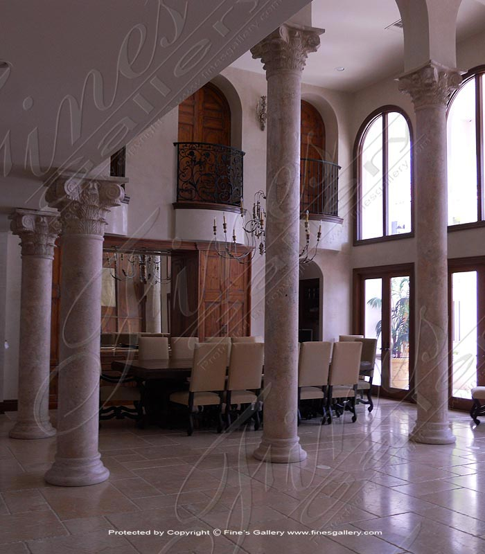 Marble Columns  - Fort Lauderdale Travertine Column Installation - MCOL-300