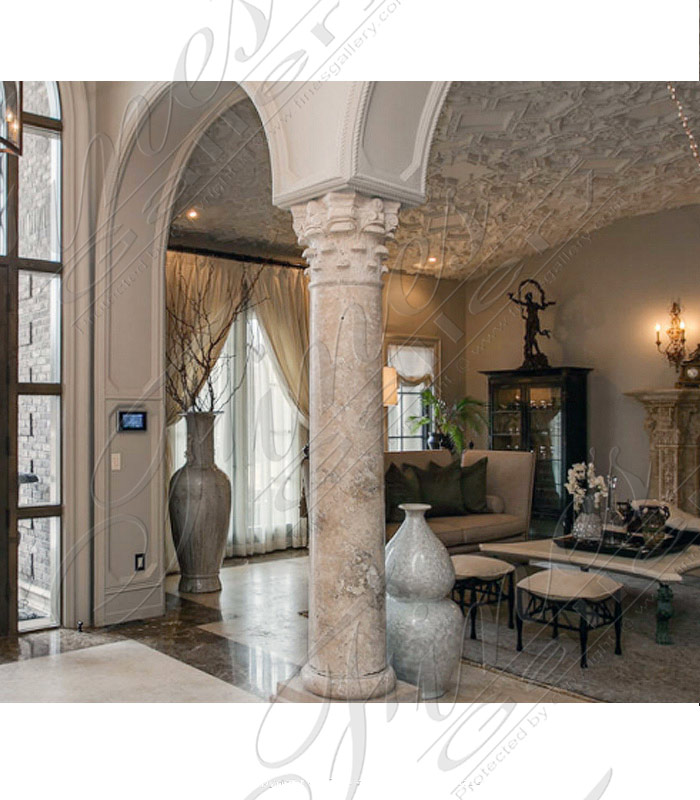 Marble Columns  - Naples Florida Cream Marble Columns And Mantel - MCOL-322