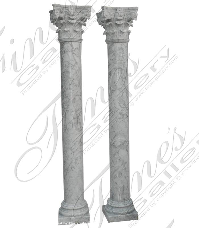 Italian White Carrara Marble Columns