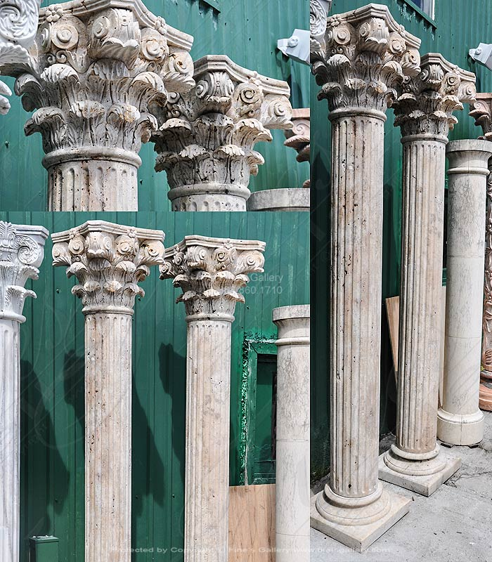 Rustic Travertine Column Pair
