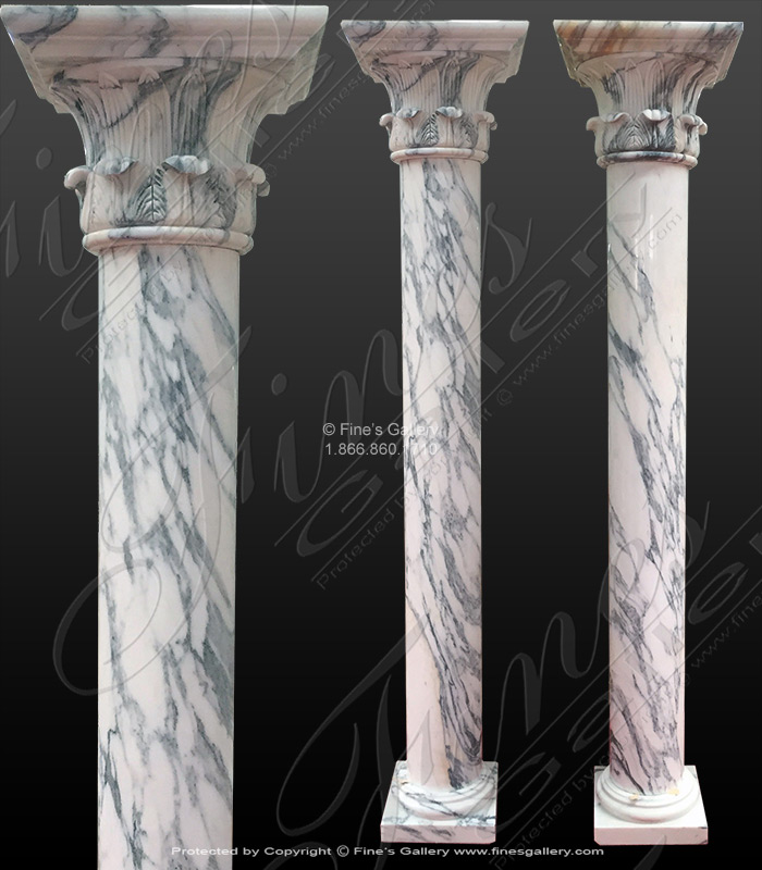 Marble Columns  - Arabascato Marble Column Pair - MCOL-351