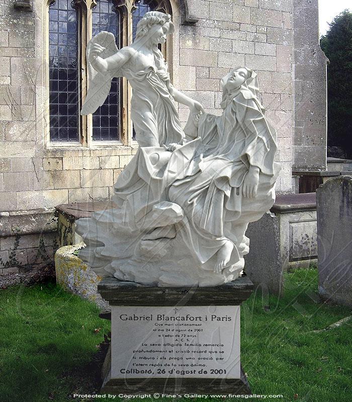 Marble Memorials  - Marble Angel Memorial Statue - MEM-008