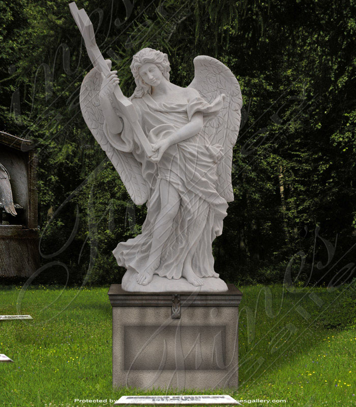 Marble Memorials  - Light Cream Marble Angel Monument - MEM-448