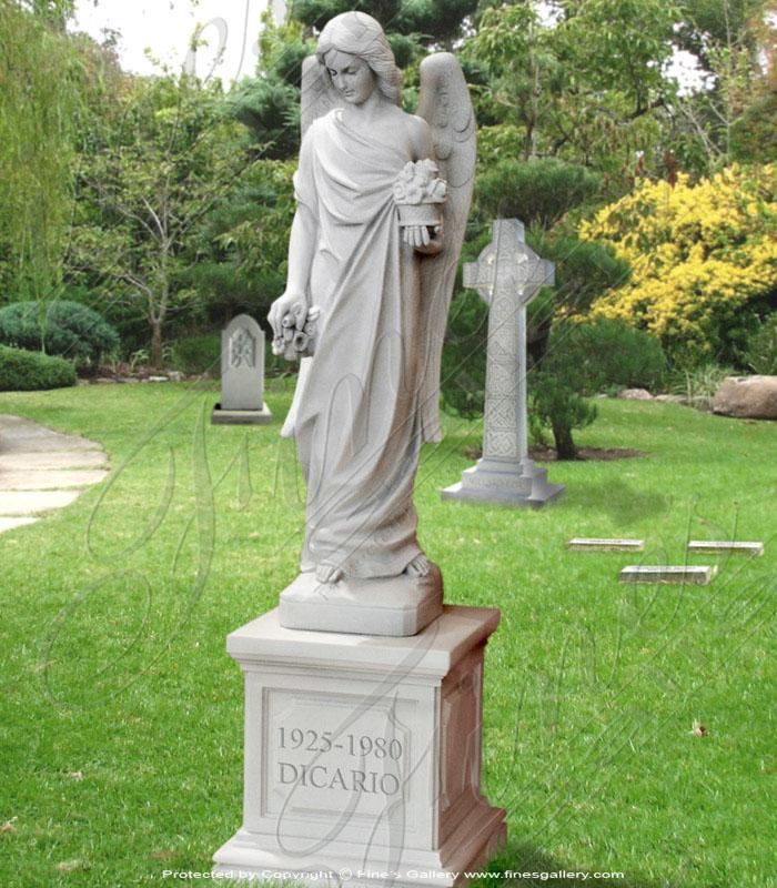 Marble Memorials  - Angel Statuary Marble Memorial - MEM-090