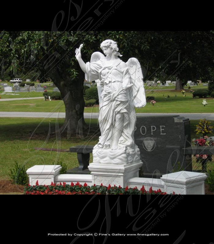 Marble Memorials  - Angel's Prayer Marble Memorial - MEM-084