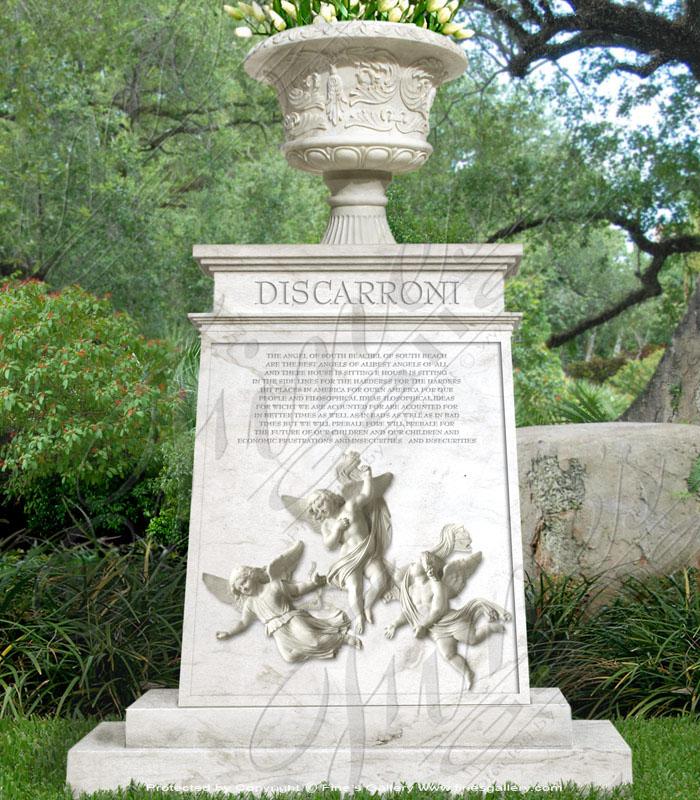 Marble Memorials  - Planter & Angels Marble Memorial - MEM-152