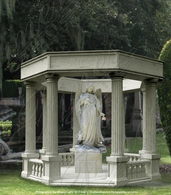Marble Memorials  - Marble Memorial Angel Gazebo - MEM-183
