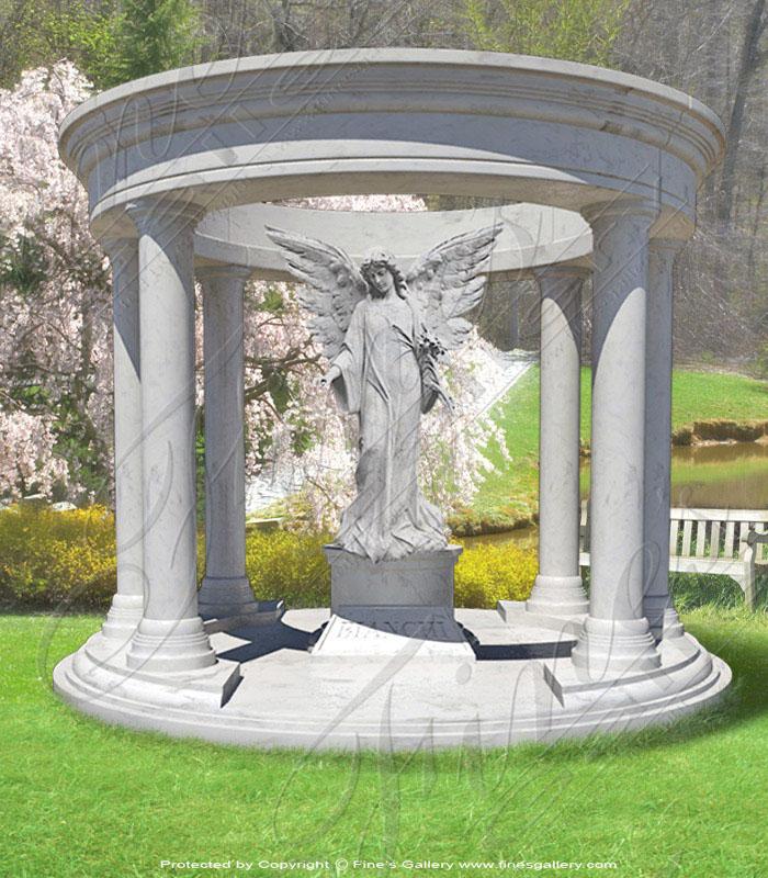 Marble Memorials  - Angel Pavilion Marble Memorial - MEM-195