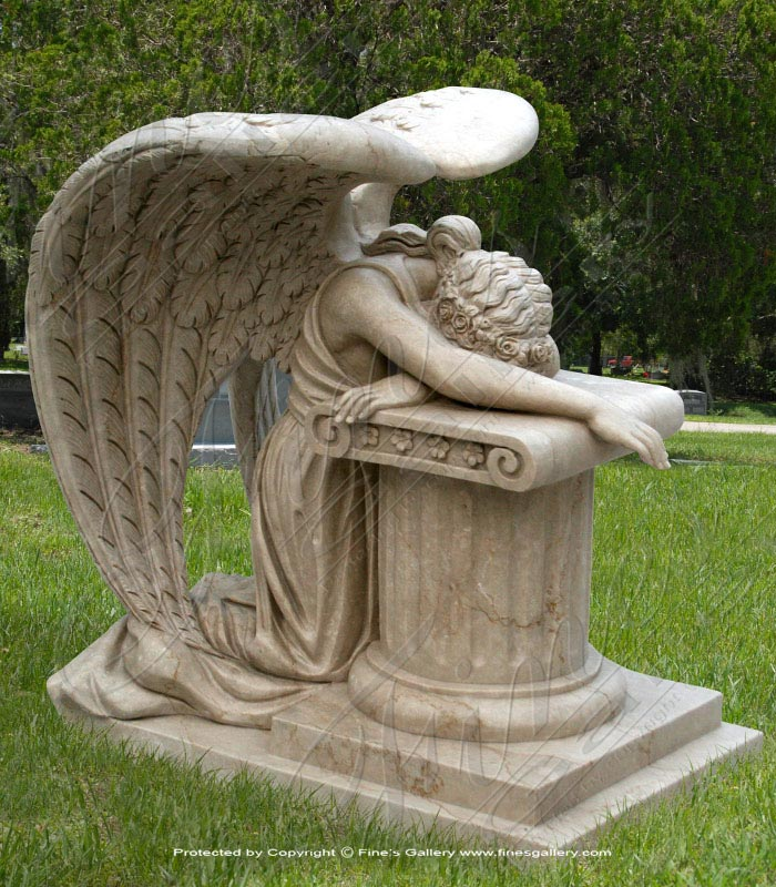 Search Result For Marble Memorials  - Marble Weeping Angel Memorial - MEM-289