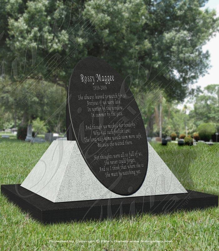 Granite Memorials  - Elegant Oval Granite Memorial - MEM-287