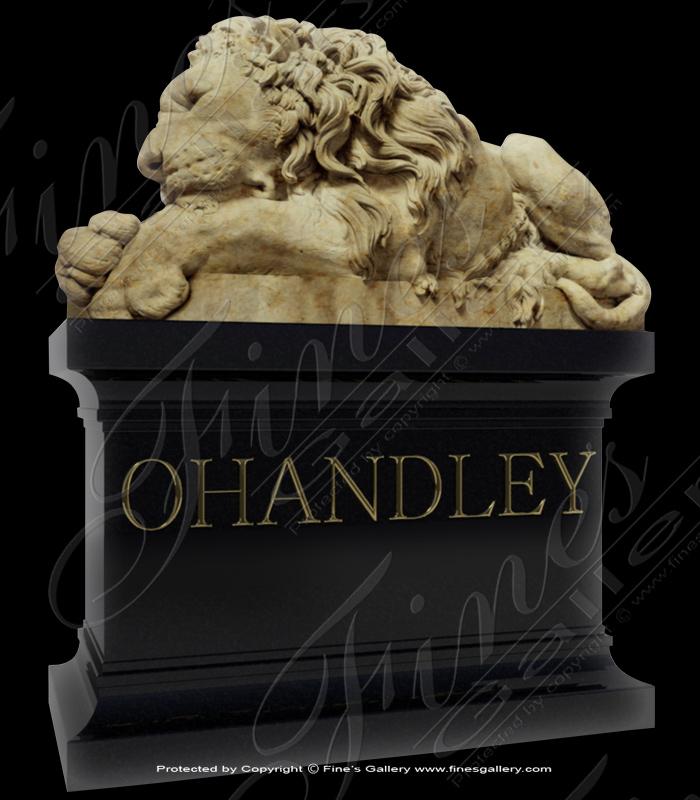Granite Memorials  - Adult Male Lion Granite Memorial - MEM-350