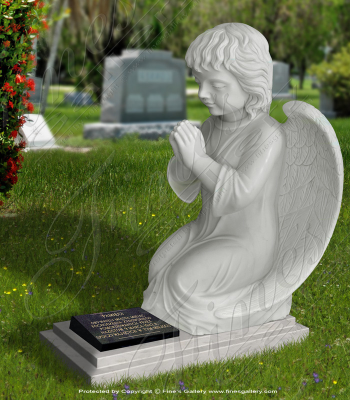 Marble Memorials  - Child Angel Marble Memorial - MEM-367