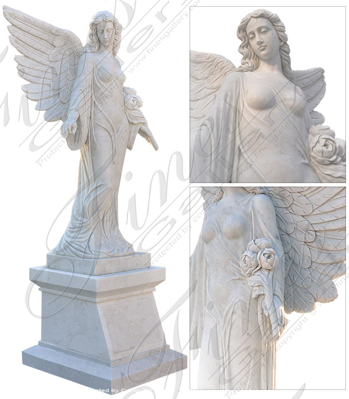 Search Result For Marble Memorials  - Angel Double Stone Marble Memorial - MEM-117