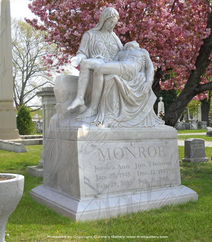 Marble Memorials  - The Pieta Marble Monument - MEM-405